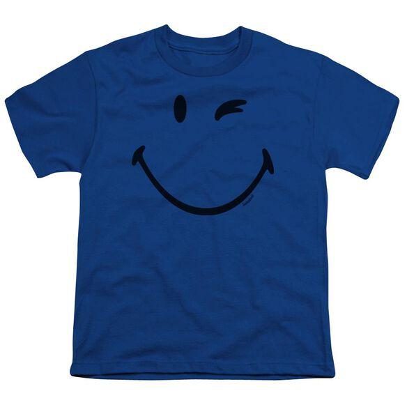 Smiley World Big Wink Short Sleeve Youth Royal T-Shirt