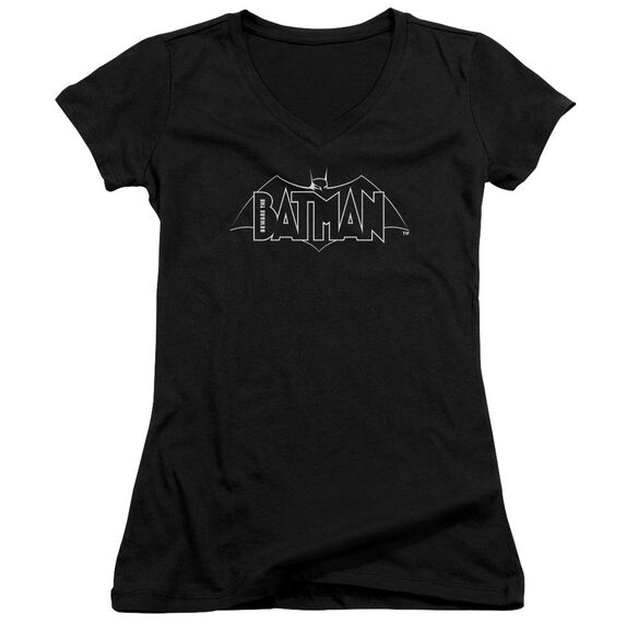Beware The Batman B&W Logo Junior V Neck T-Shirt