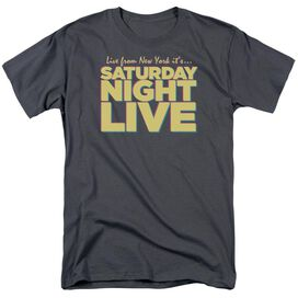Snl Live From Ny Short Sleeve Adult Charcoal T-Shirt