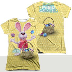 HERE COMES PETER COTTONTAIL BASKET OF EGGS (FRONT/BACK PRINT)-S/S JUNIOR T-Shirt