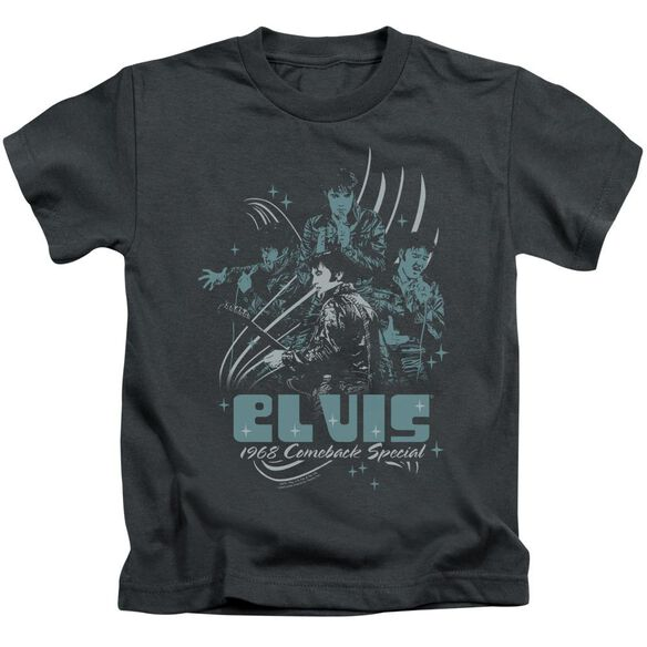 Elvis 68 Leather Short Sleeve Juvenile Charcoal T-Shirt
