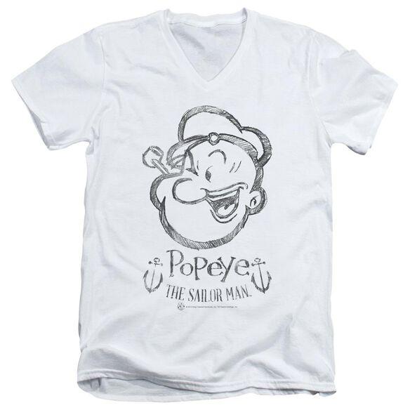 POPEYE SKETCH PORTRAIT - S/S ADULT V-NECK - WHITE T-Shirt