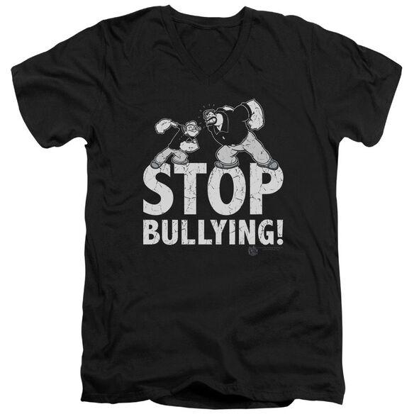 POPEYE STOP BULLYING - S/S ADULT V-NECK - BLACK T-Shirt