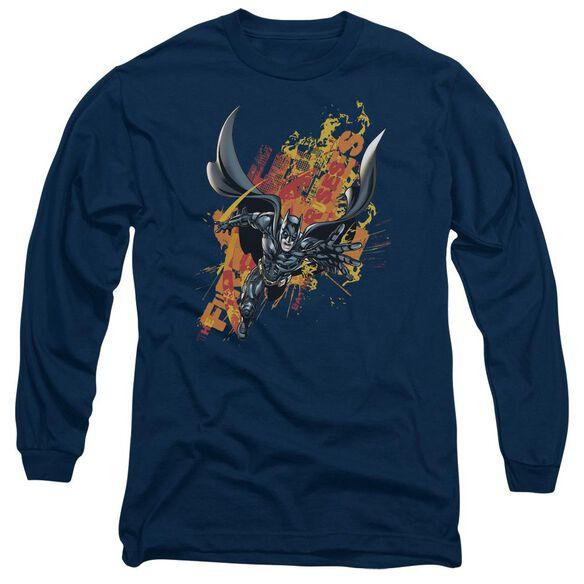 Dark Knight Rises Fire Rises Long Sleeve Adult T-Shirt