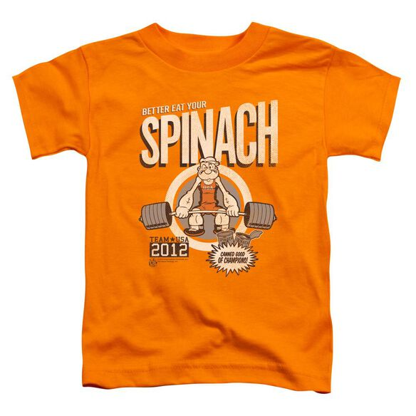 Popeye Eat Your Spinach Short Sleeve Toddler Tee Orange Sm T-Shirt