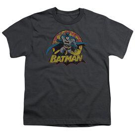 Jla Batman Rough Distress Short Sleeve Youth T-Shirt