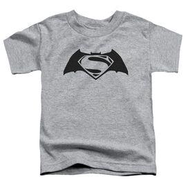 Batman V Superman Simple Logo Short Sleeve Toddler Tee Athletic Heather T-Shirt