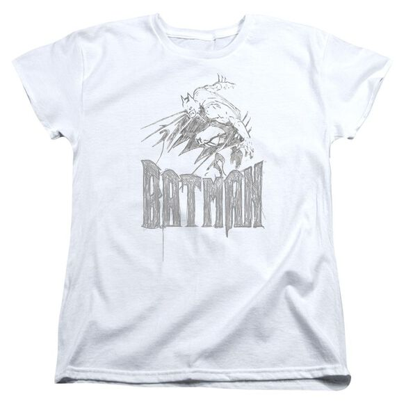 BATMAN KNIGHT SKETCH - S/S WOMENS TEE - WHITE T-Shirt