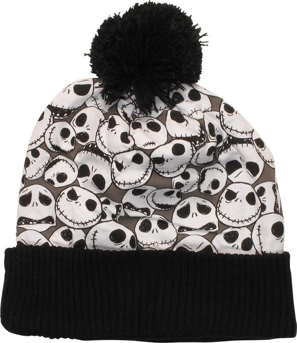 nightmare before christmas jack collage cuffed pom beanie