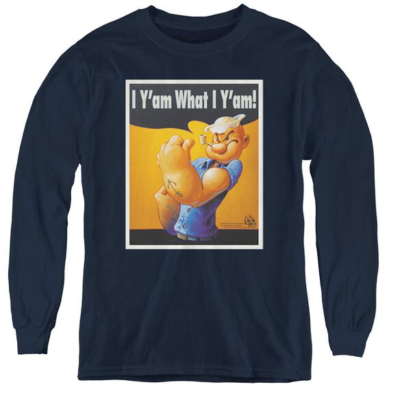 Popeye I Can Do It - Youth Long Sleeve Tee - Navy