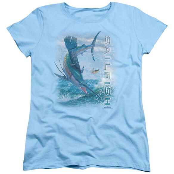 Wildlife Leaping Sailfish Short Sleeve Womens Tee Light Blue T-Shirt