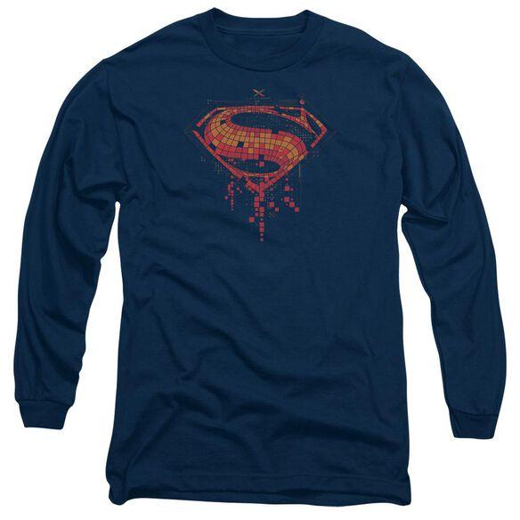 Batman V Superman Tech Super Logo Long Sleeve Adult T-Shirt