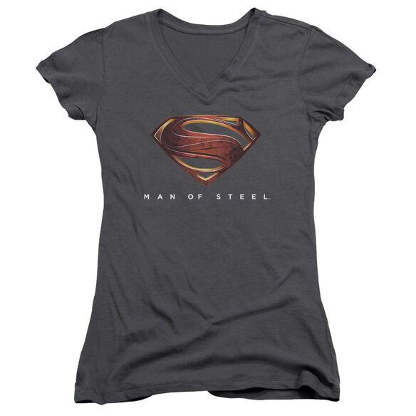 Man Of Steel Mos New Logo Junior V Neck T-Shirt