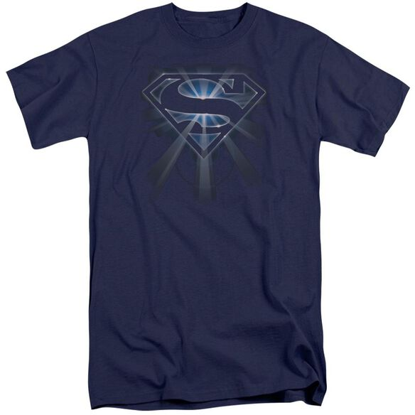 Superman Glowing Shield Short Sleeve Adult Tall T-Shirt