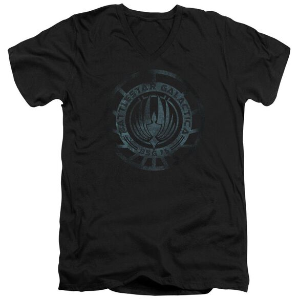 Battlestar Galactica (New) Faded Emblem Short Sleeve Adult V Neck T-Shirt