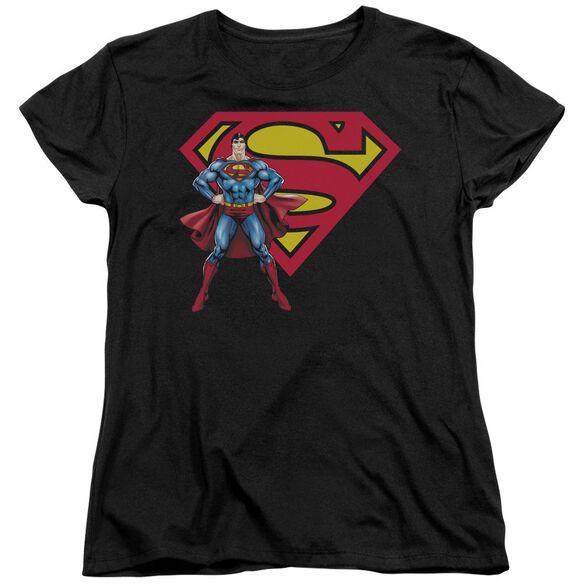 SUPERMAN SUPERMAN & LOGO - S/S WOMENS TEE - BLACK T-Shirt