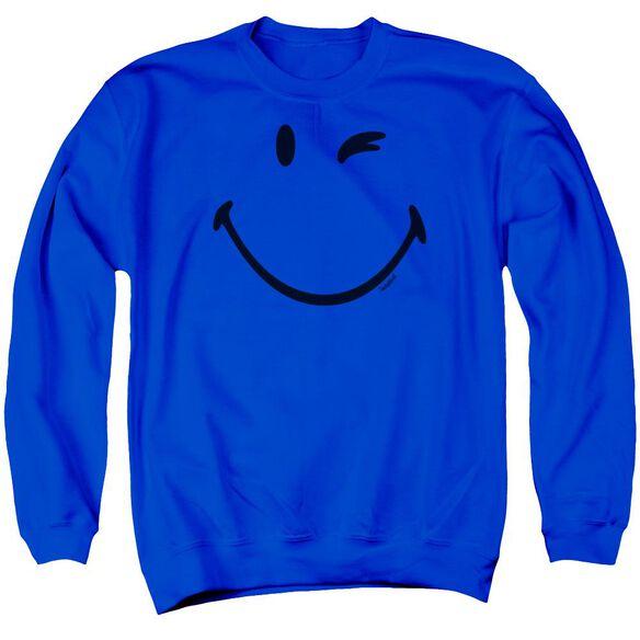 Smiley World Big Wink Adult Crewneck Sweatshirt Royal