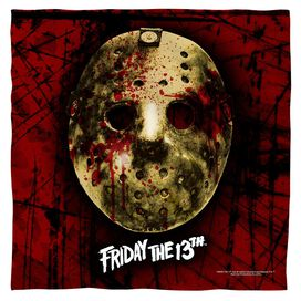 Friday The 13 Th Bloody Mask Bandana White