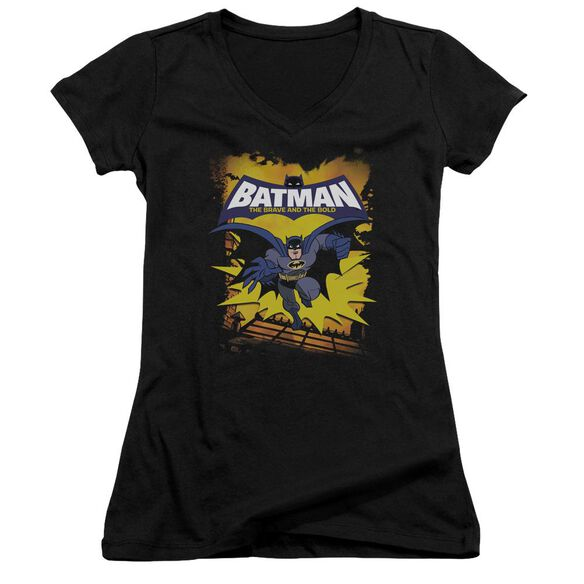 Batman Bb Rooftop Leap Junior V Neck T-Shirt