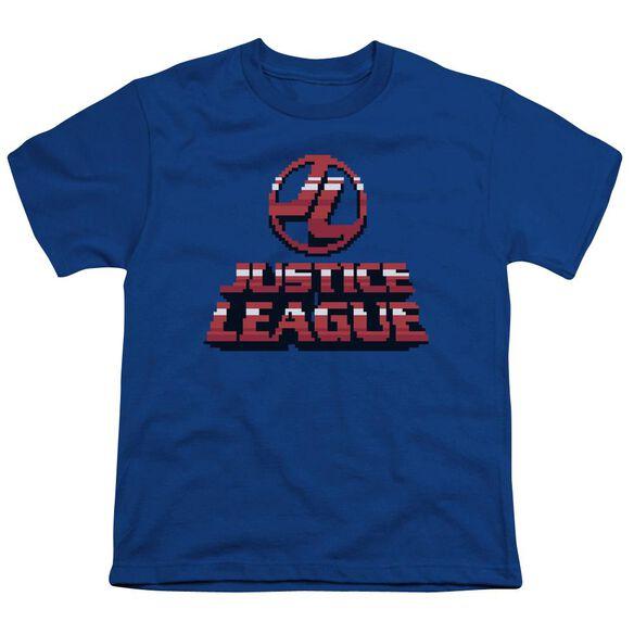 Jla 8 Bit Jla Short Sleeve Youth Royal T-Shirt