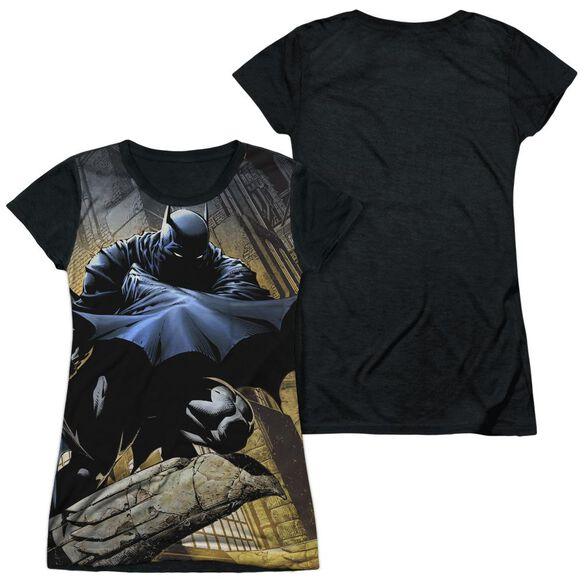 Batman In Shadow Short Sleeve Junior Poly Black Back T-Shirt