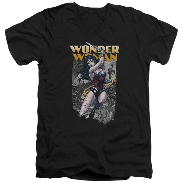 Jla Wonder Slice Short Sleeve Adult V Neck T-Shirt