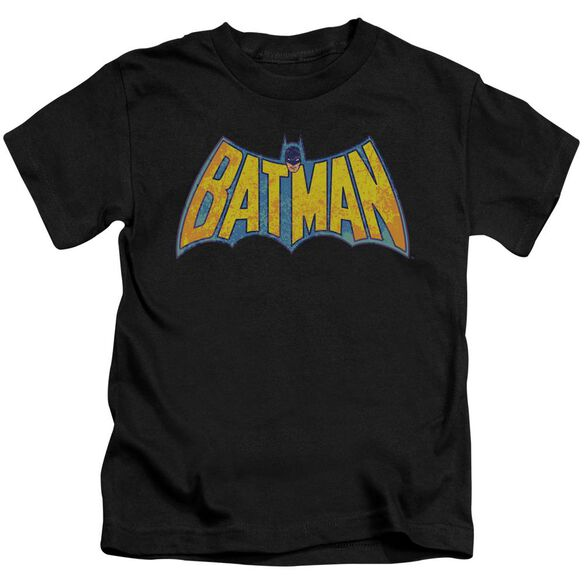 Dco Batman Neon Distress Logo Short Sleeve Juvenile Black T-Shirt