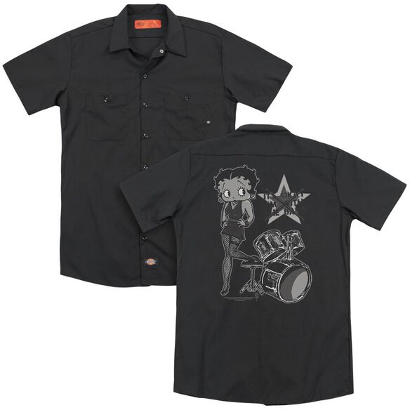 Betty Boop With The Band (Back Print) Adult Work Shirt