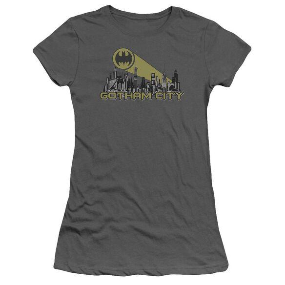 Batman Gotham Skyline Short Sleeve Junior Sheer T-Shirt
