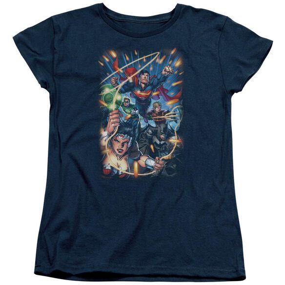 Jla Under Attack Short Sleeve Womens Tee T-Shirt
