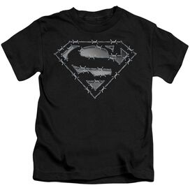 Superman Barbed Wire Short Sleeve Juvenile Black Md T-Shirt