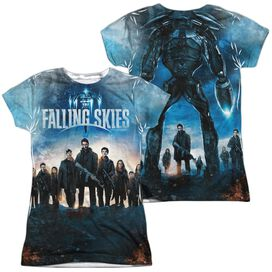 Falling Skies Battle (Front Back Print) Short Sleeve Junior Poly Crew T-Shirt