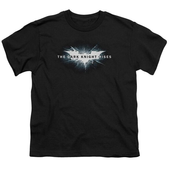 Dark Knight Rises Cracked Bat Logo Short Sleeve Youth T-Shirt