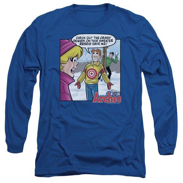 Archie Comics Crazy Sweater Long Sleeve Adult Royal T-Shirt
