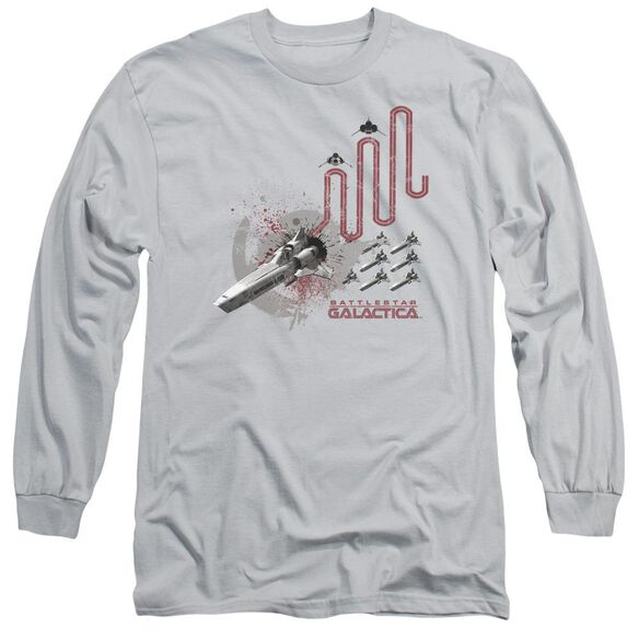 Bsg Red Squadron Splatter Long Sleeve Adult T-Shirt