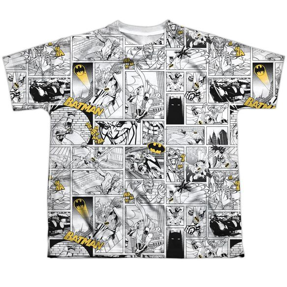 Batman Comic All Over Short Sleeve Youth Poly Crew T-Shirt
