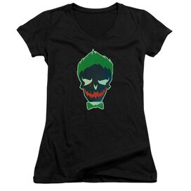 Suicide Squad Joker Skull Junior V Neck T-Shirt