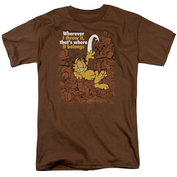 GARFIELD WHERE IT BELONGS - S/S ADULT 18/1 - COFFEE T-Shirt