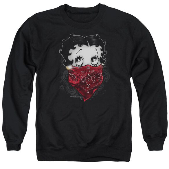 Betty Boop Bandana &Amp; Roses Adult Crewneck Sweatshirt