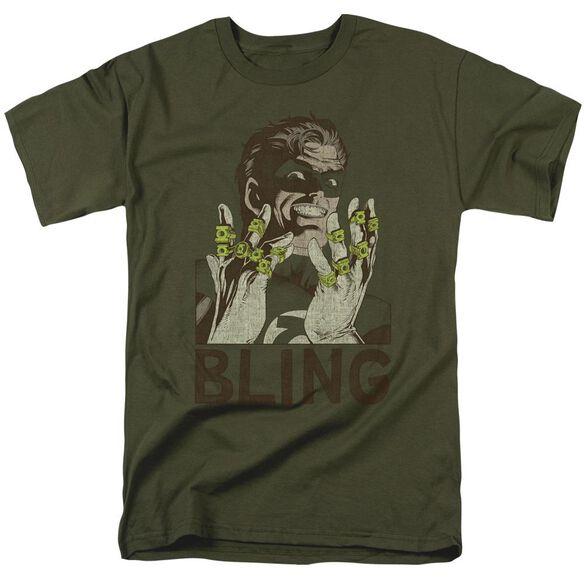 Green Lantern Bling Bling Short Sleeve Adult Military Green T-Shirt