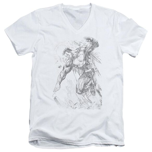 SUPERMAN PENCIL CITY TO SPACE - S/S ADULT V-NECK - WHITE T-Shirt