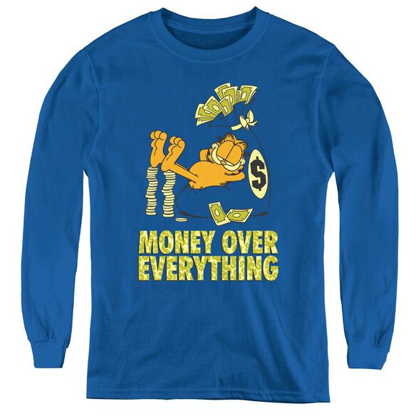 Garfield Money Is Everything - Youth Long Sleeve Tee - Royal Blue