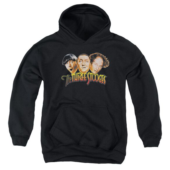 Three Stooges Three Head Logo Youth Pull Over Hoodie