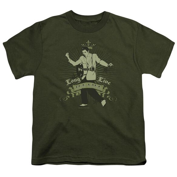Elvis Long Live The King Short Sleeve Youth Military T-Shirt