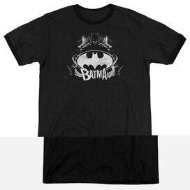 BATMAN GRIM & GRITTY - ADULT HEATHER RINGER - BLACK