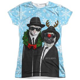 Pets Rock Blue Christmas Short Sleeve Junior Poly Crew T-Shirt