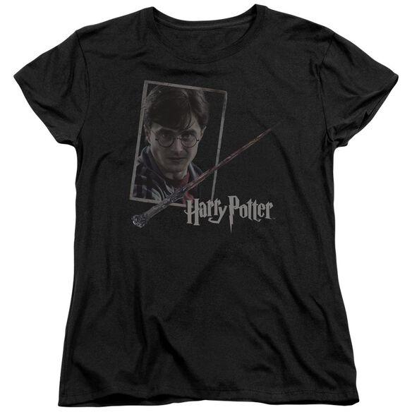 Harry Potter Harrys Wand Portrait Short Sleeve Womens Tee T-Shirt