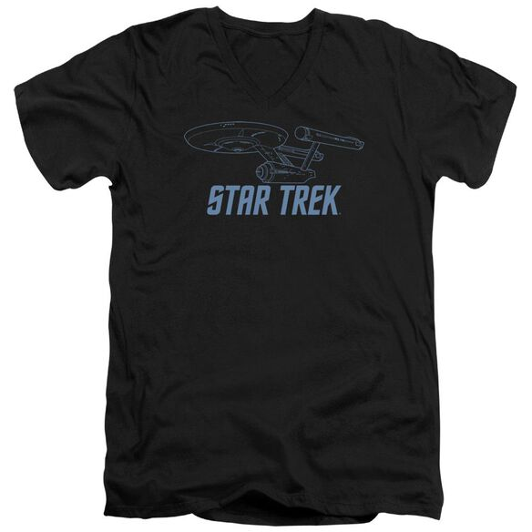 Star Trek Enterprise Outline Short Sleeve Adult V Neck T-Shirt