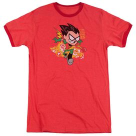Teen Titans Go Robin Adult Heather Ringer Red