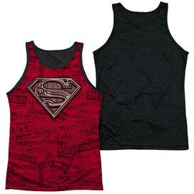 Superman Super Powers Adult Poly Tank Top Black Back